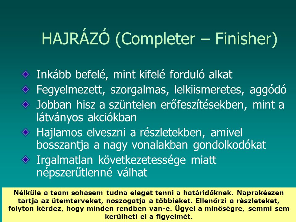 HAJRÁZÓ (Completer – Finisher)