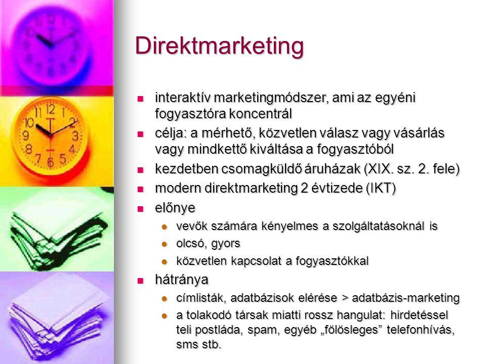 Direktmarketing interaktív marketingmódszer, ami az egyéni fogyasztóra koncentrál.
