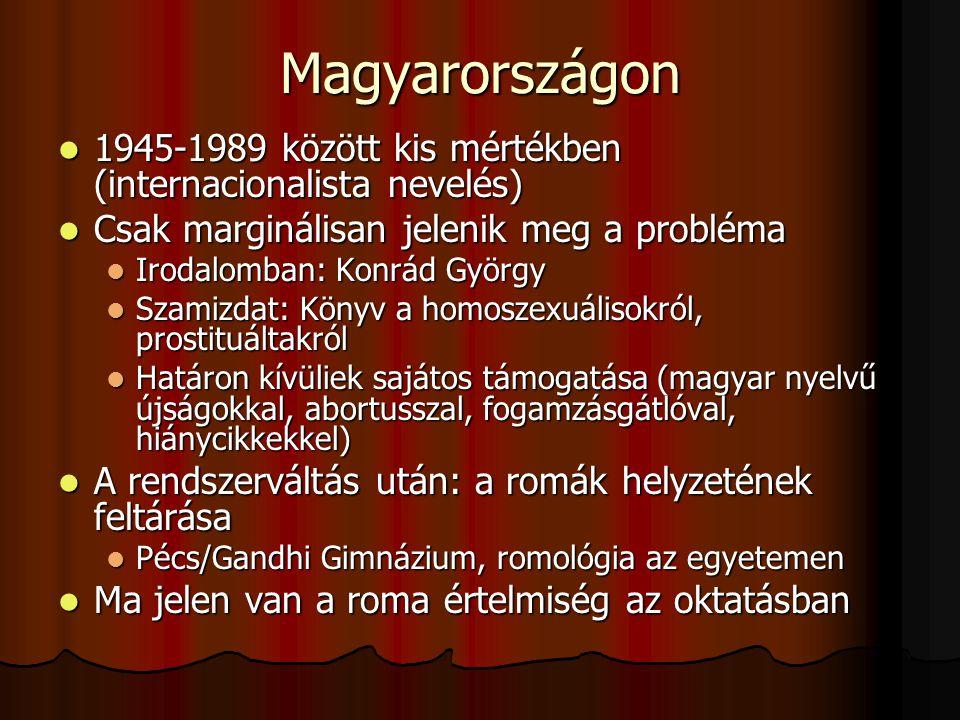 Magyarországon 1945-1989 között kis mértékben (internacionalista nevelés) Csak marginálisan jelenik meg a probléma.