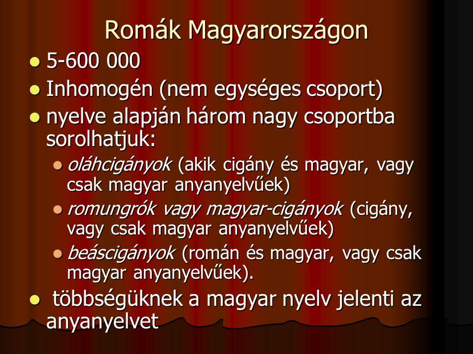 Romák Magyarországon 5-600 000 Inhomogén (nem egységes csoport)