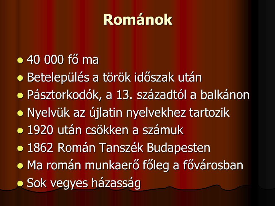 Románok 40 000 fő ma Betelepülés a török időszak után