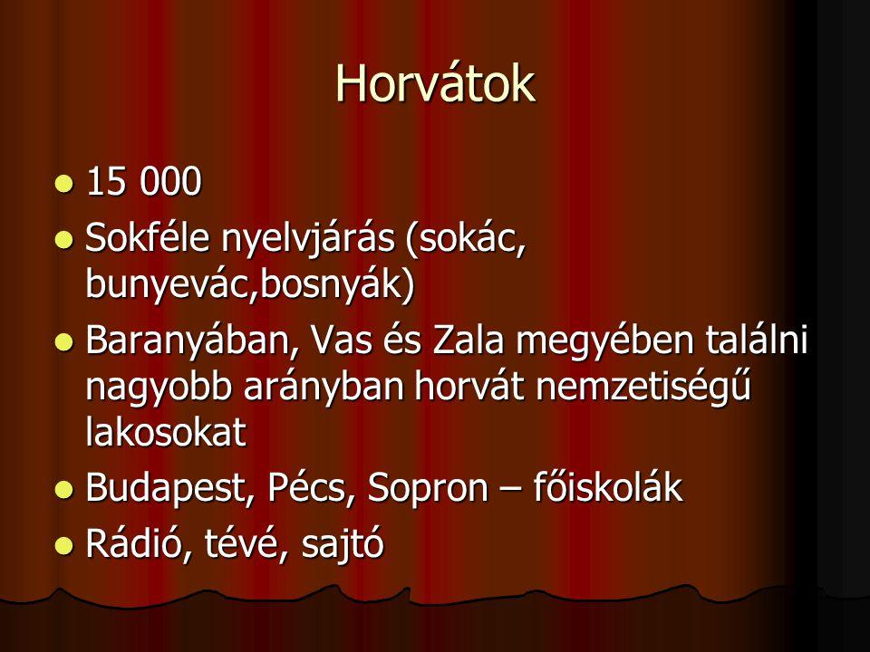 Horvátok 15 000 Sokféle nyelvjárás (sokác, bunyevác,bosnyák)