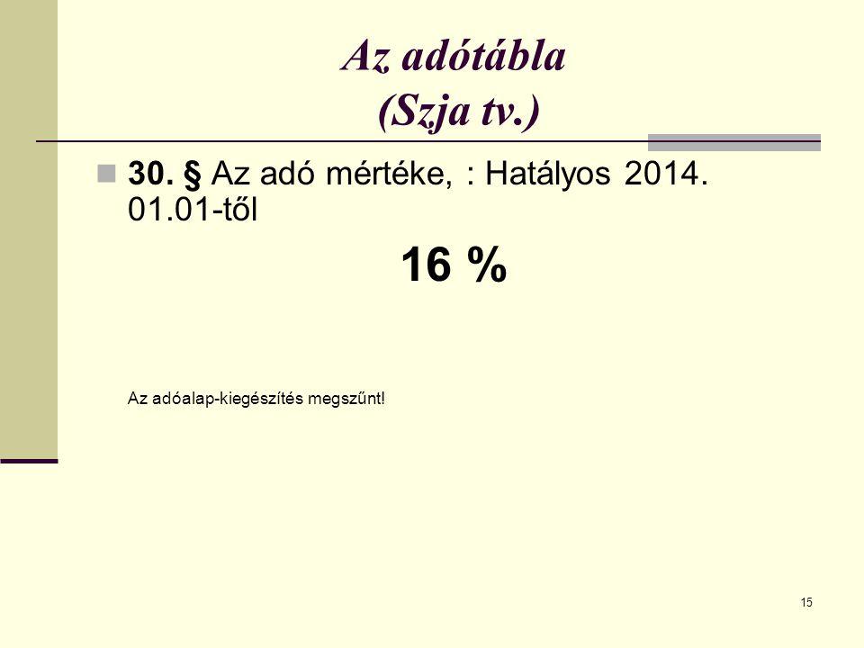 Az adótábla (Szja tv.) 30. § Az adó mértéke, : Hatályos 2014.