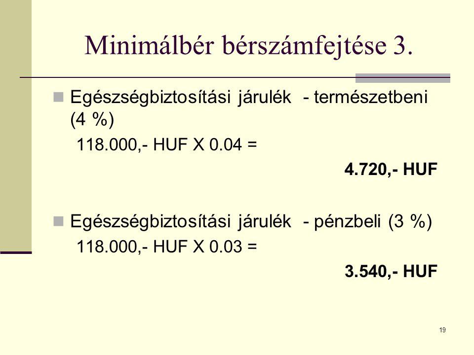 Minimálbér bérszámfejtése 3.