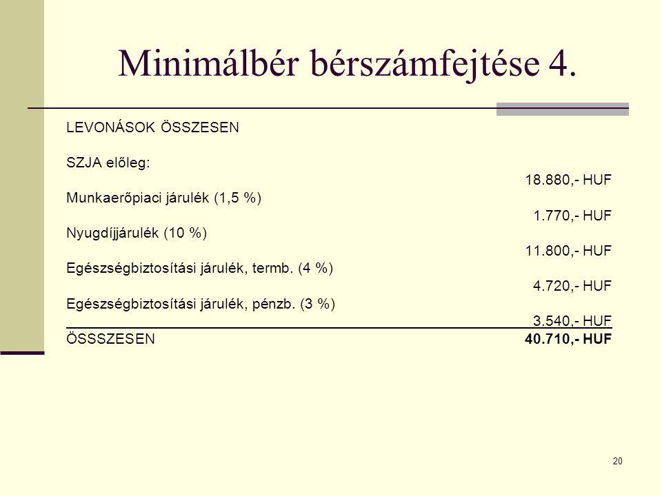 Minimálbér bérszámfejtése 4.