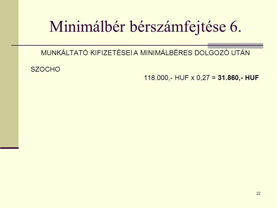 Minimálbér bérszámfejtése 6.