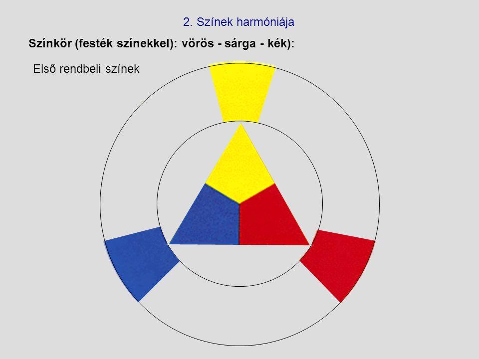 2. Színek harmóniája Színkör (festék színekkel): vörös - sárga - kék): Első rendbeli színek