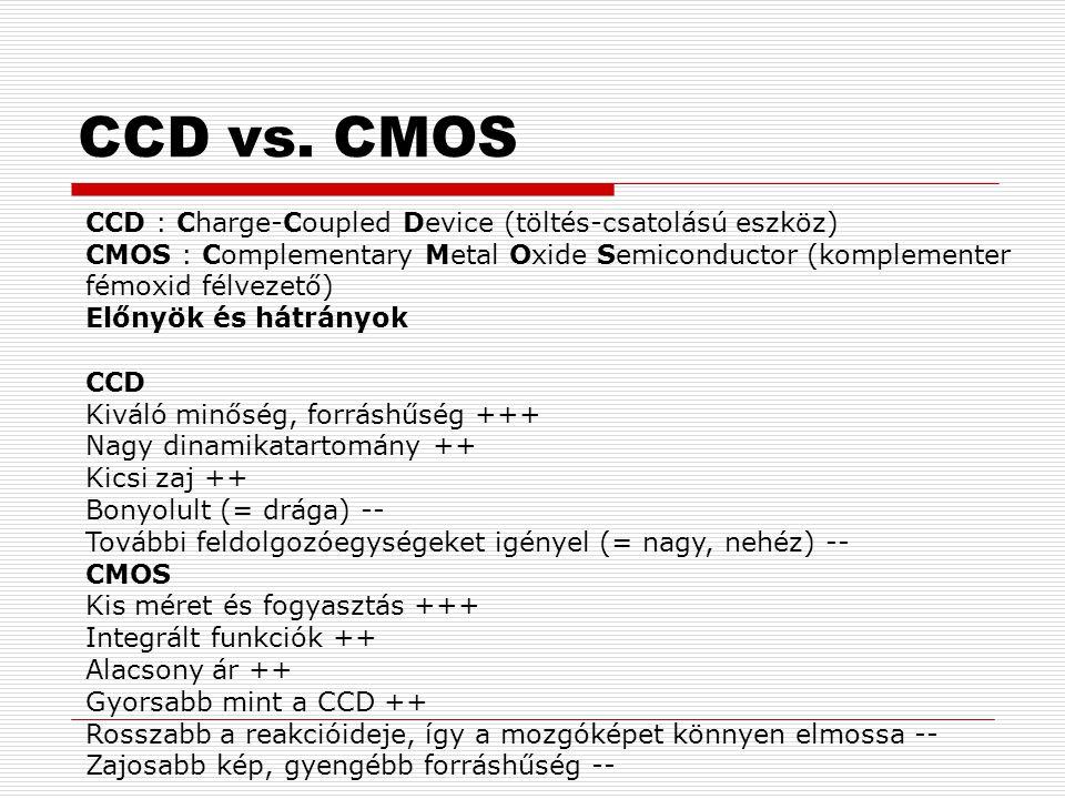 CCD vs. CMOS CCD : Charge-Coupled Device (töltés-csatolású eszköz) CMOS : Complementary Metal Oxide Semiconductor (komplementer fémoxid félvezető)