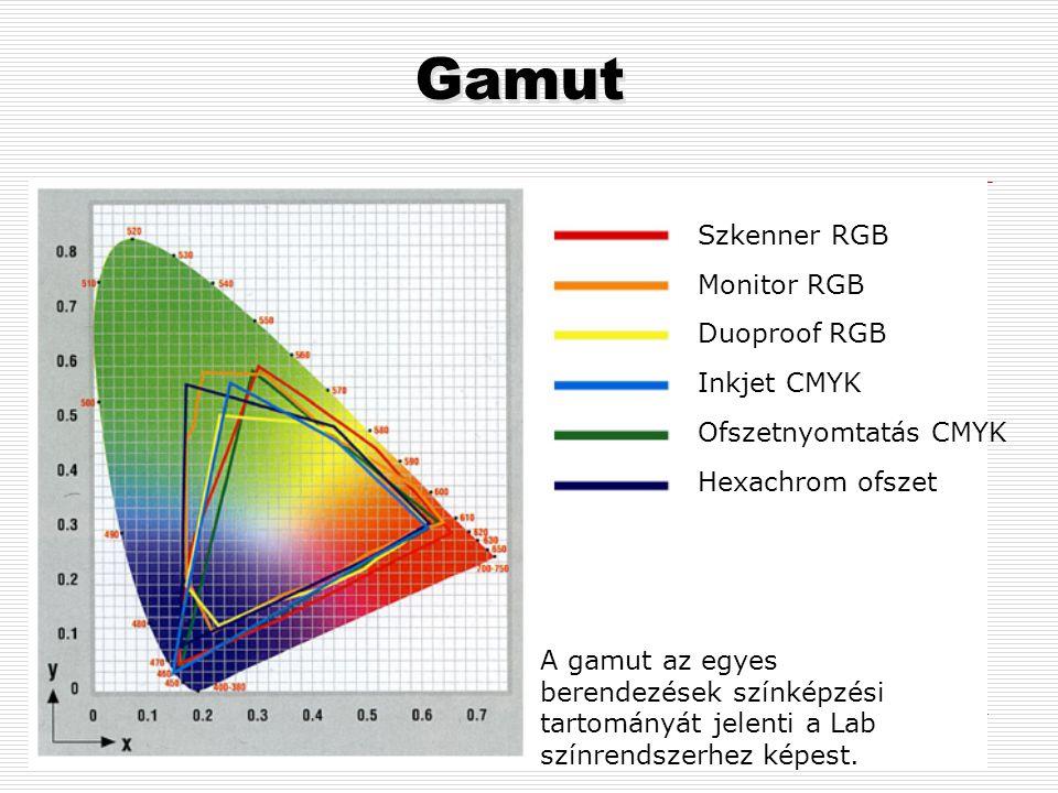 Gamut Szkenner RGB Monitor RGB Duoproof RGB Inkjet CMYK