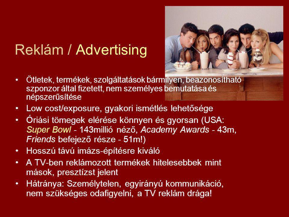 Reklám / Advertising Low cost/exposure, gyakori ismétlés lehetősége