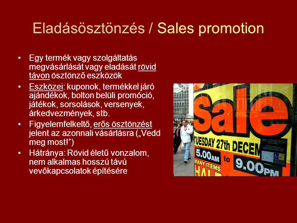 Eladásösztönzés / Sales promotion