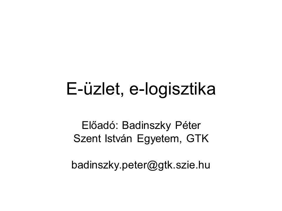E-üzlet, e-logisztika Előadó: Badinszky Péter