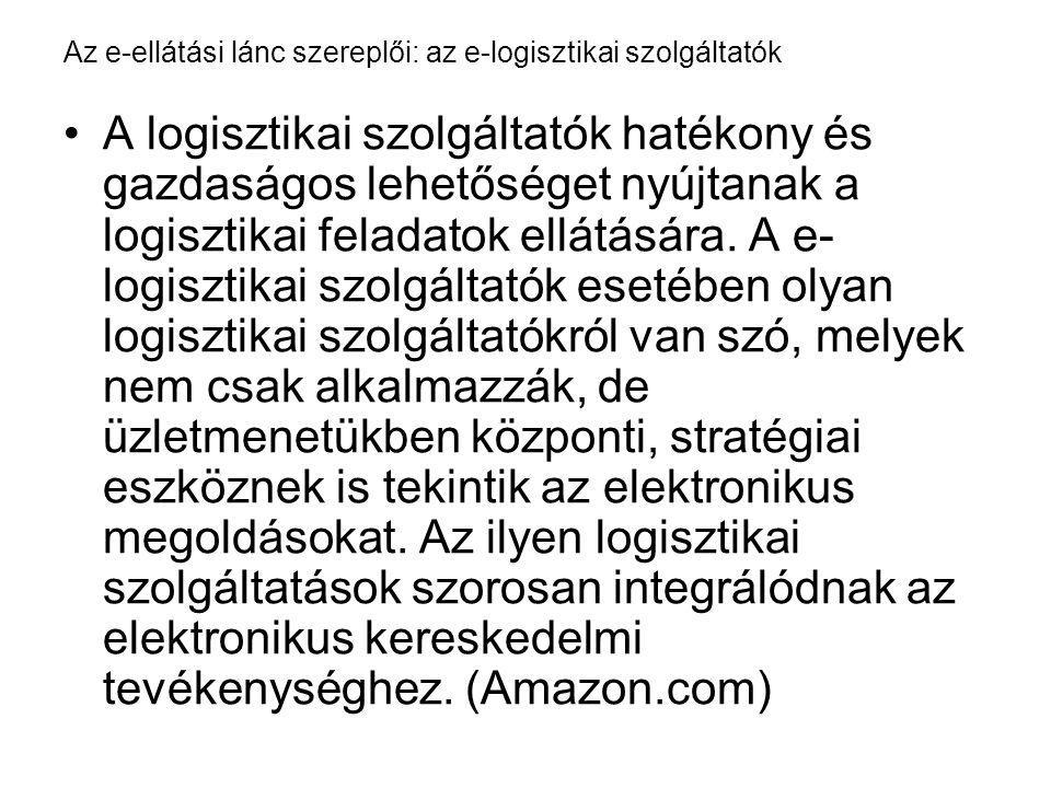 Az e-ellátási lánc szereplői: az e-logisztikai szolgáltatók