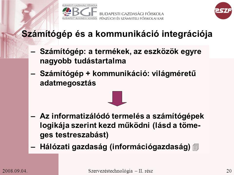 Számítógép és a kommunikáció integrációja