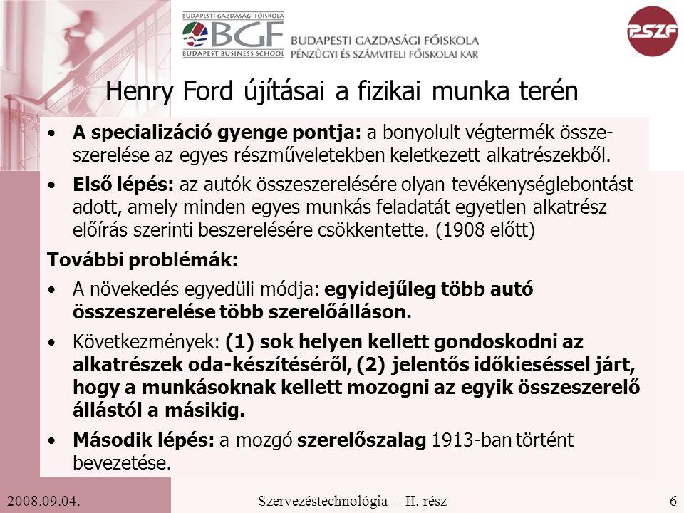 Henry Ford újításai a fizikai munka terén
