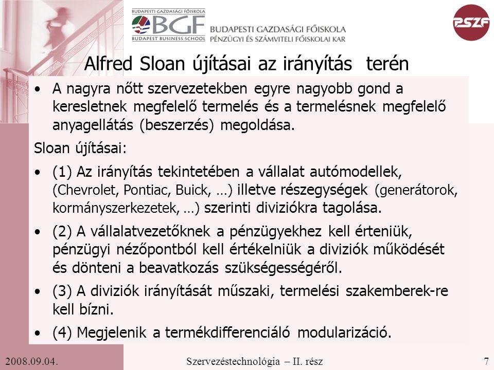 Alfred Sloan újításai az irányítás terén