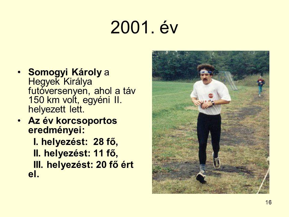 2001. év Somogyi Károly a Hegyek Királya futóversenyen, ahol a táv 150 km volt, egyéni II. helyezett lett.