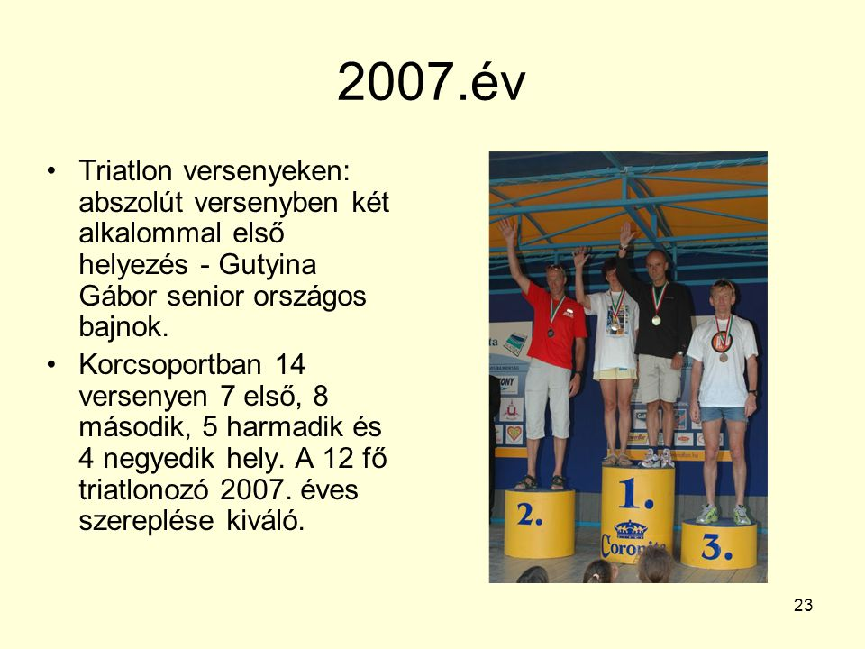 2007.év Triatlon versenyeken: abszolút versenyben két alkalommal első helyezés - Gutyina Gábor senior országos bajnok.