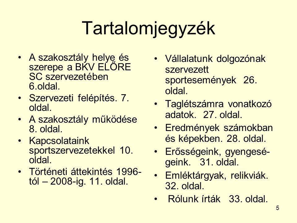 Tartalomjegyzék A szakosztály helye és szerepe a BKV ELŐRE SC szervezetében 6.oldal. Szervezeti felépítés. 7. oldal.