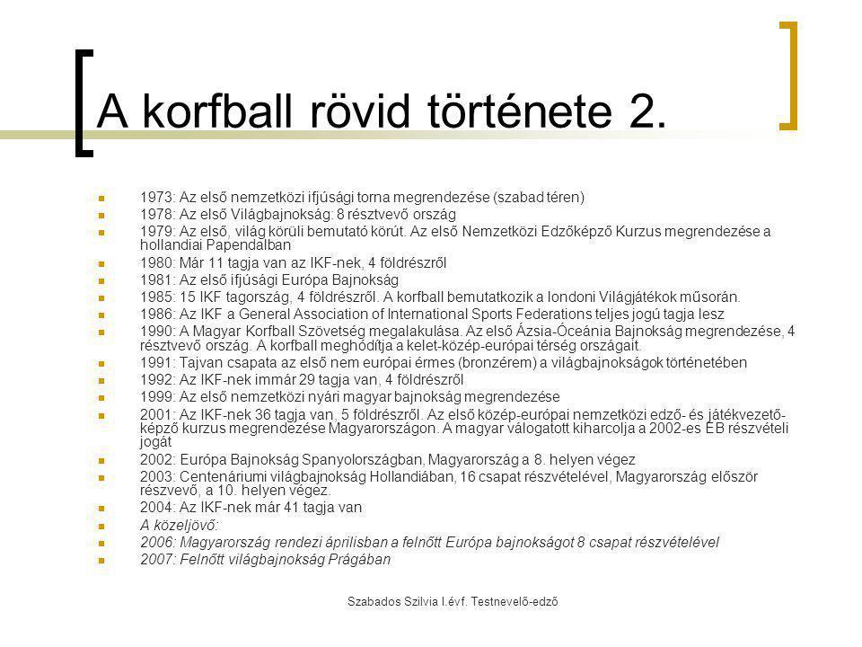 A korfball rövid története 2.
