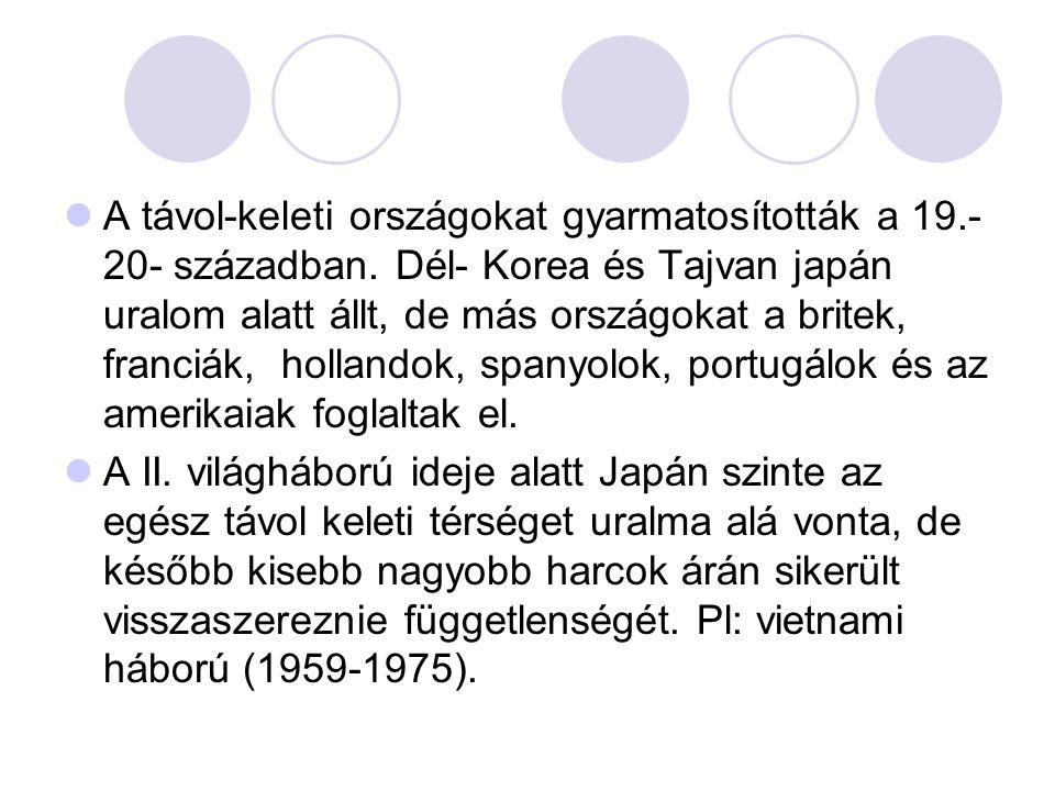 A távol-keleti országokat gyarmatosították a 19. -20- században