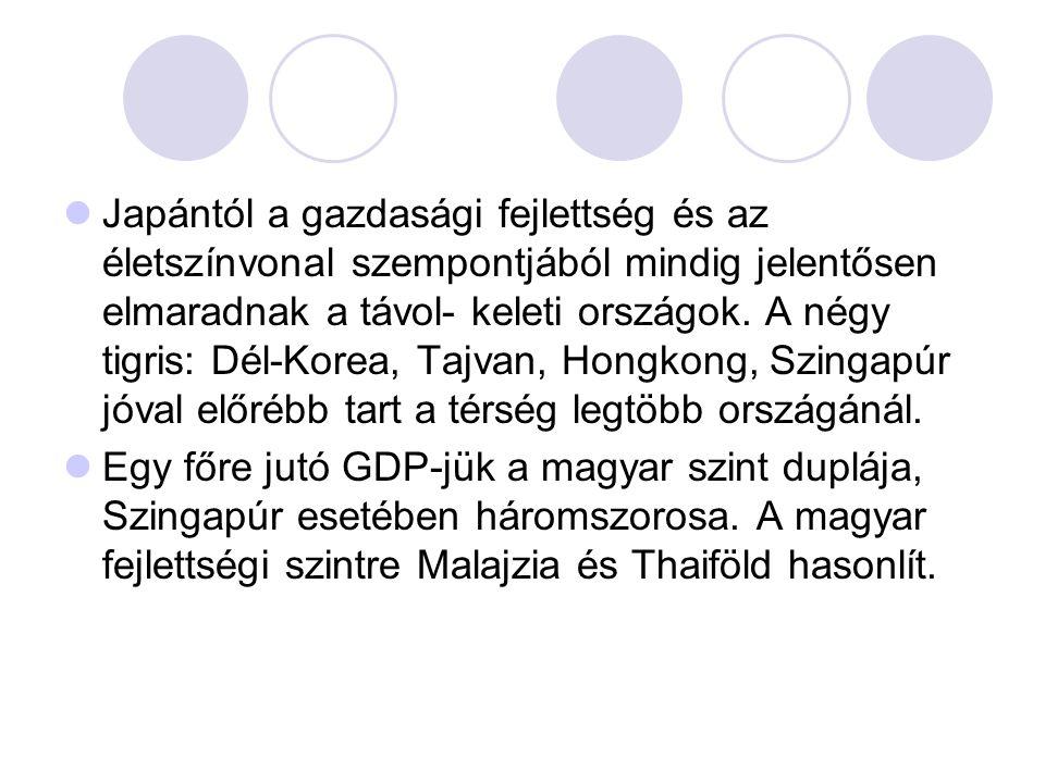 Japántól a gazdasági fejlettség és az életszínvonal szempontjából mindig jelentősen elmaradnak a távol- keleti országok. A négy tigris: Dél-Korea, Tajvan, Hongkong, Szingapúr jóval előrébb tart a térség legtöbb országánál.
