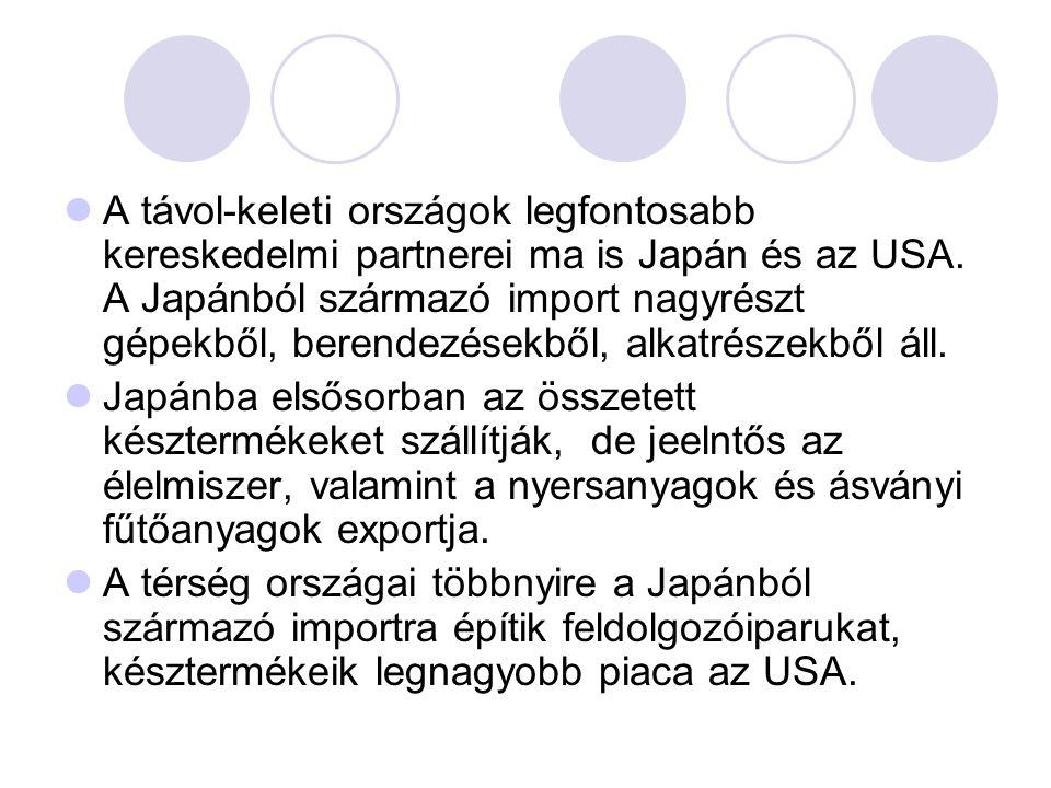 A távol-keleti országok legfontosabb kereskedelmi partnerei ma is Japán és az USA. A Japánból származó import nagyrészt gépekből, berendezésekből, alkatrészekből áll.