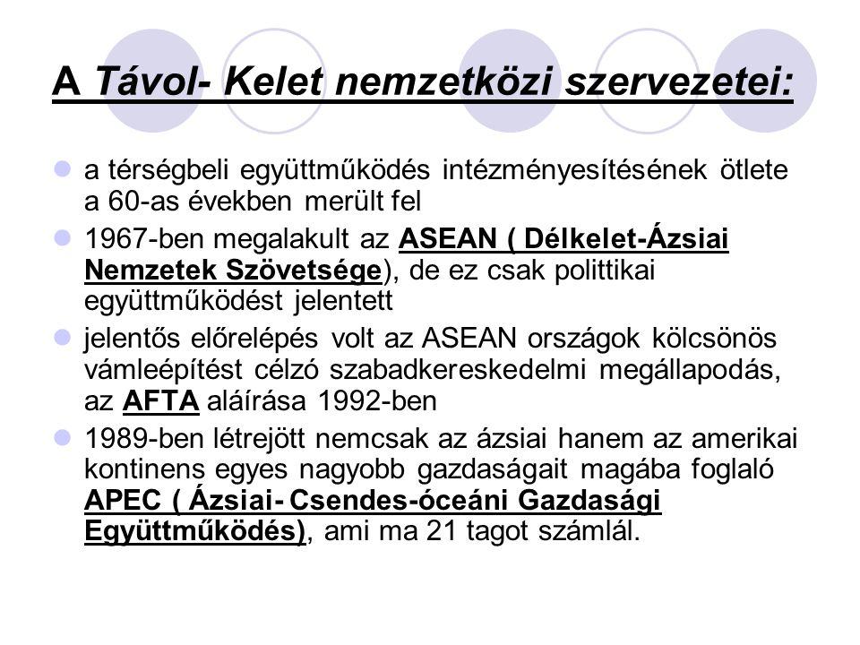 A Távol- Kelet nemzetközi szervezetei: