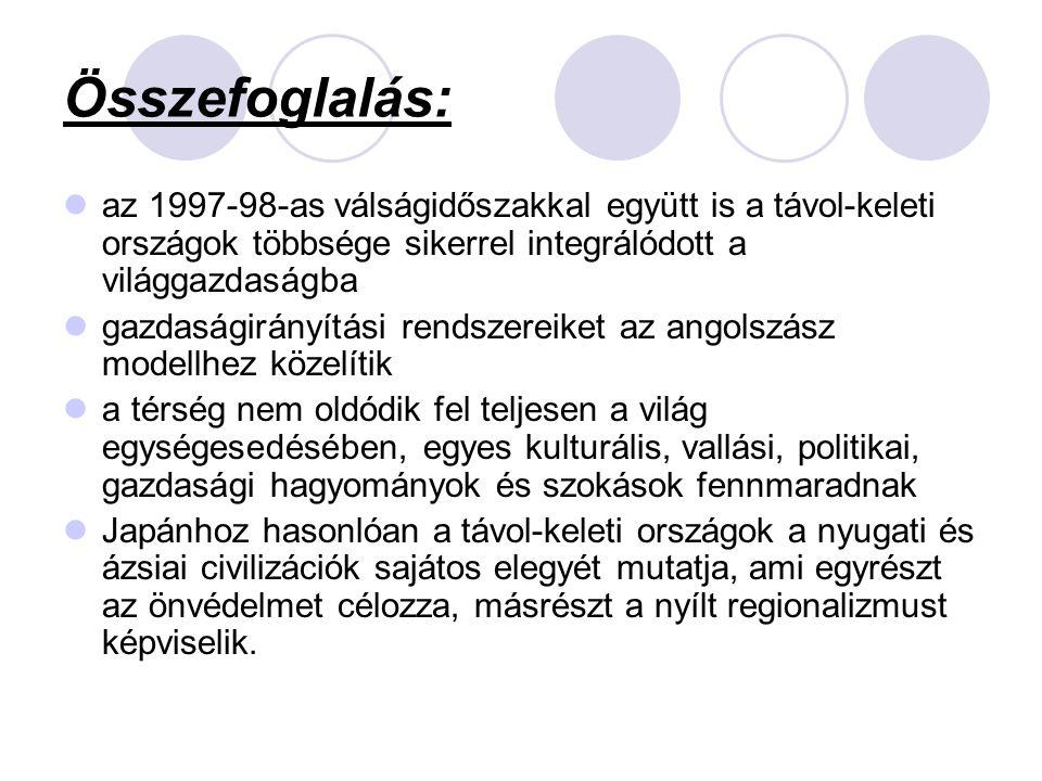 Összefoglalás: az 1997-98-as válságidőszakkal együtt is a távol-keleti országok többsége sikerrel integrálódott a világgazdaságba.