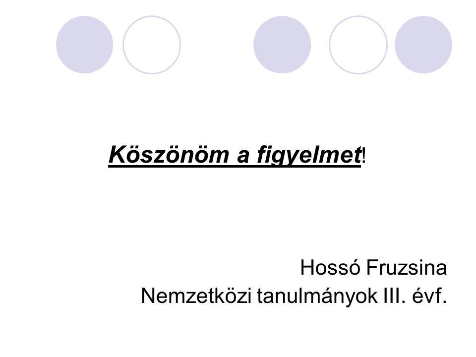 Köszönöm a figyelmet! Hossó Fruzsina Nemzetközi tanulmányok III. évf.