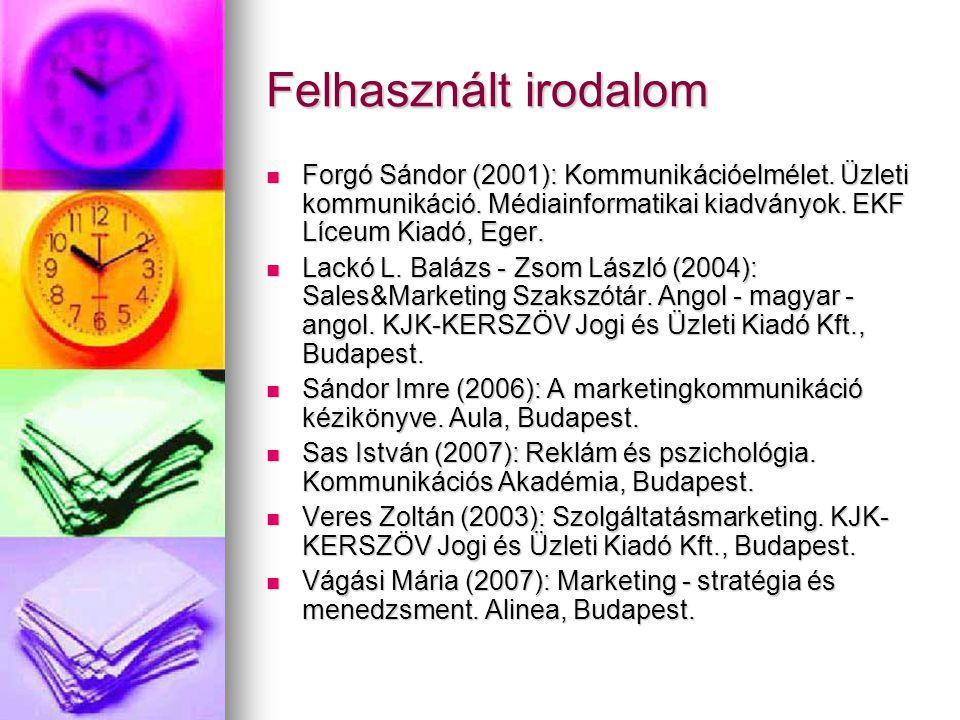 Felhasznált irodalom Forgó Sándor (2001): Kommunikációelmélet. Üzleti kommunikáció. Médiainformatikai kiadványok. EKF Líceum Kiadó, Eger.