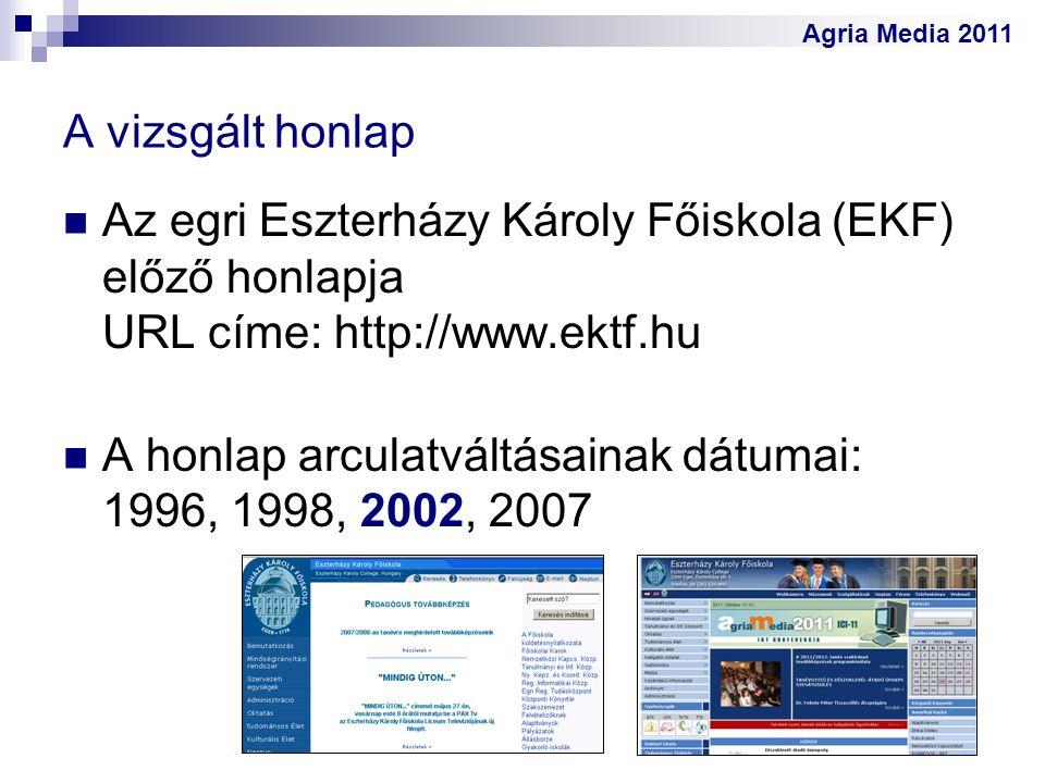 A vizsgált honlap Az egri Eszterházy Károly Főiskola (EKF) előző honlapja URL címe: http://www.ektf.hu.