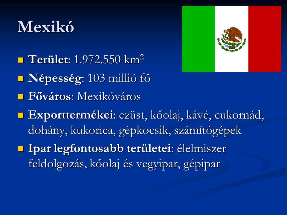 Mexikó Terület: 1.972.550 km2 Népesség: 103 millió fő