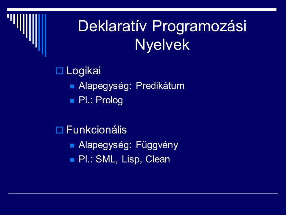 Deklaratív Programozási Nyelvek