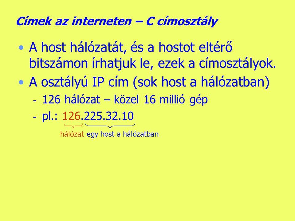 Címek az interneten – C címosztály