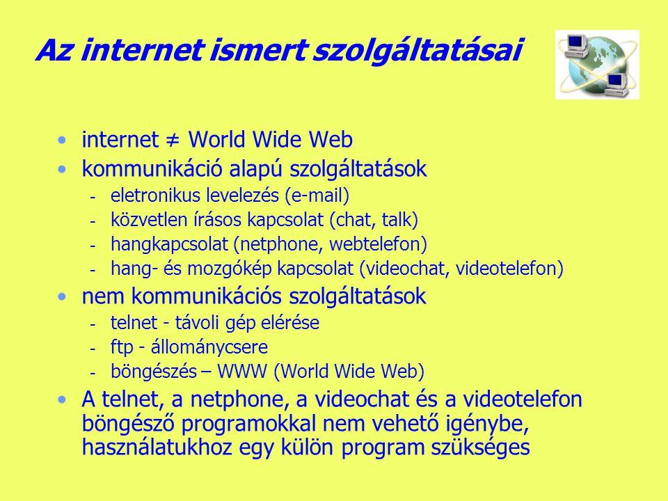 Az internet ismert szolgáltatásai