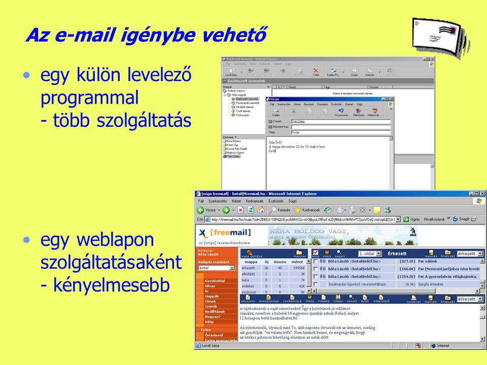 Az e-mail igénybe vehető