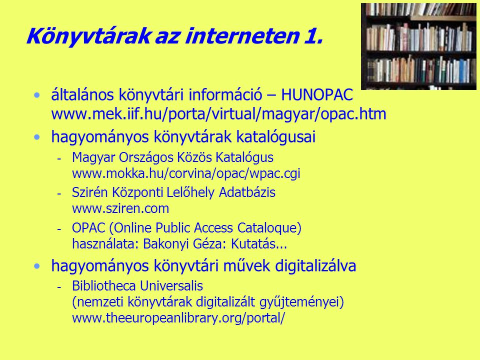 Könyvtárak az interneten 1.