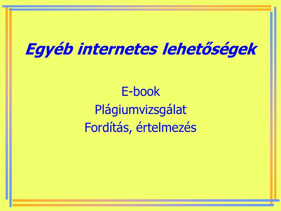 Egyéb internetes lehetőségek