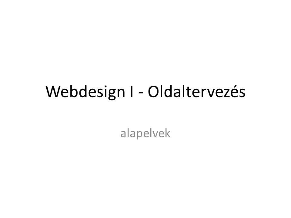 Webdesign I - Oldaltervezés
