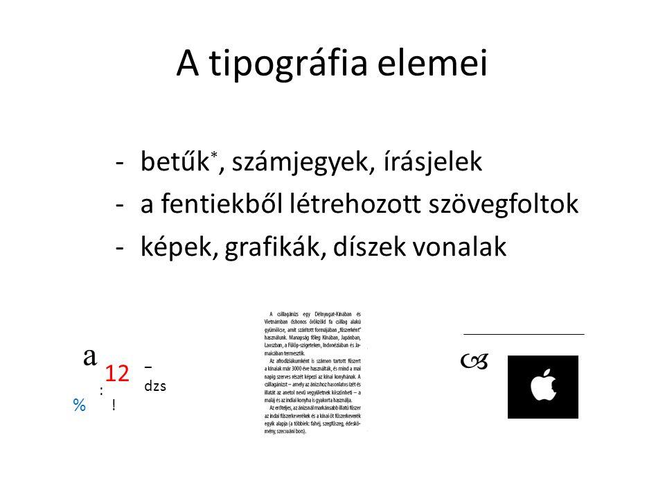 A tipográfia elemei a betűk*, számjegyek, írásjelek