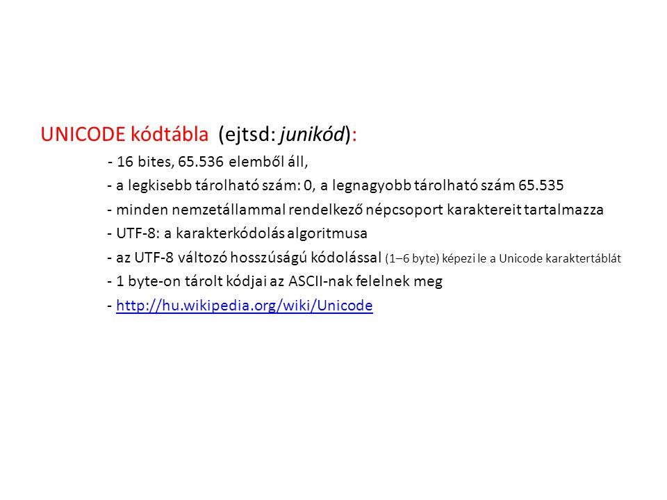 UNICODE kódtábla (ejtsd: junikód):