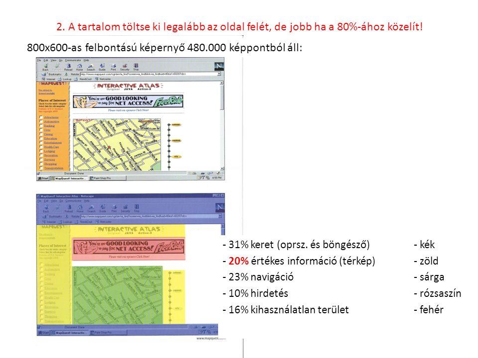 800x600-as felbontású képernyő 480.000 képpontból áll: