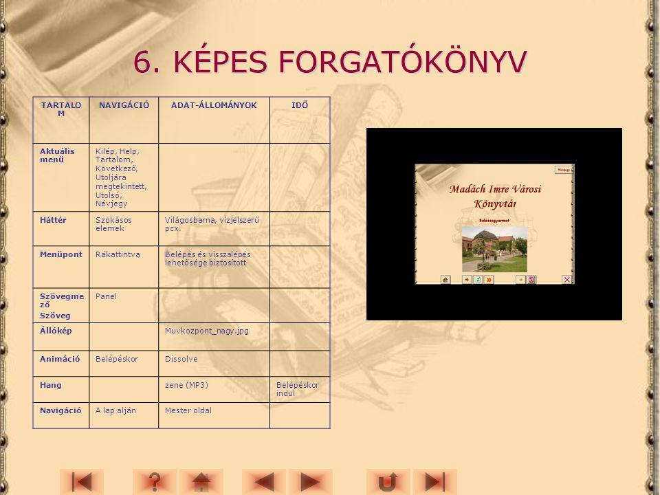 6. KÉPES FORGATÓKÖNYV TARTALOM NAVIGÁCIÓ ADAT-ÁLLOMÁNYOK IDŐ