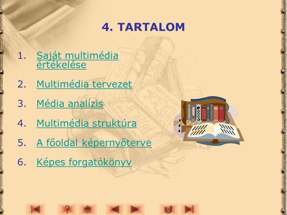 4. TARTALOM Saját multimédia értékelése Multimédia tervezet