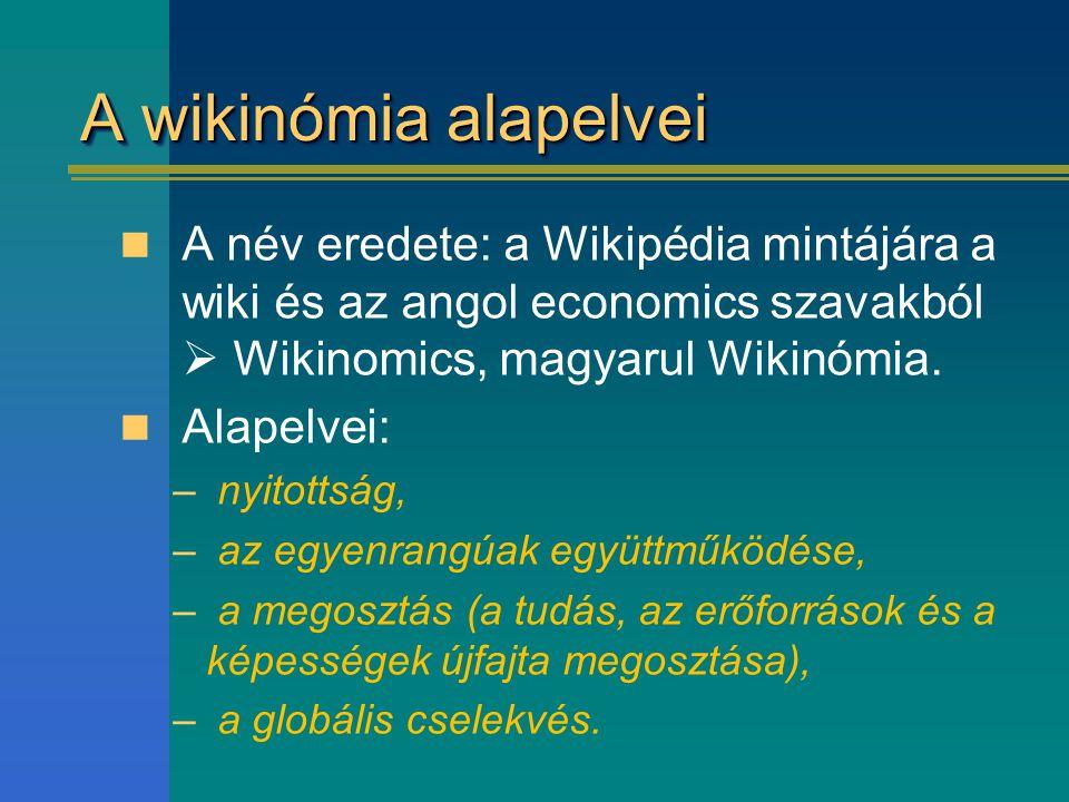 A wikinómia alapelvei A név eredete: a Wikipédia mintájára a wiki és az angol economics szavakból  Wikinomics, magyarul Wikinómia.