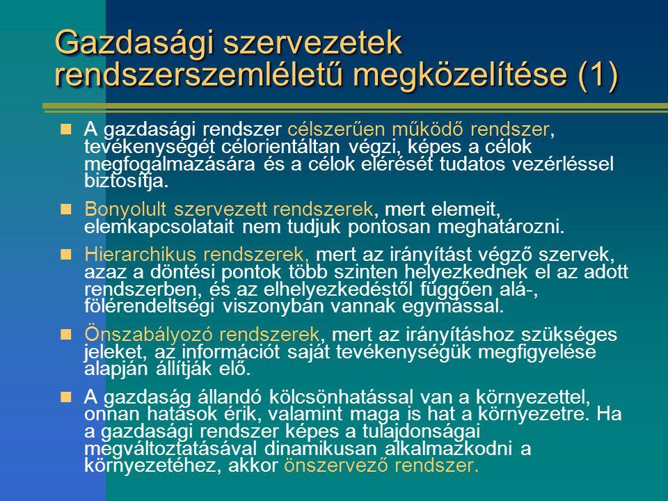 Gazdasági szervezetek rendszerszemléletű megközelítése (1)