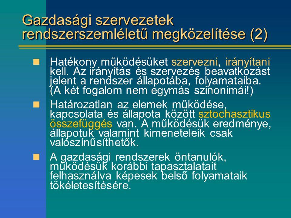 Gazdasági szervezetek rendszerszemléletű megközelítése (2)