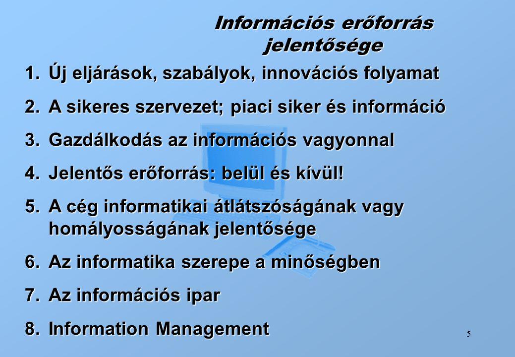 Információs erőforrás jelentősége