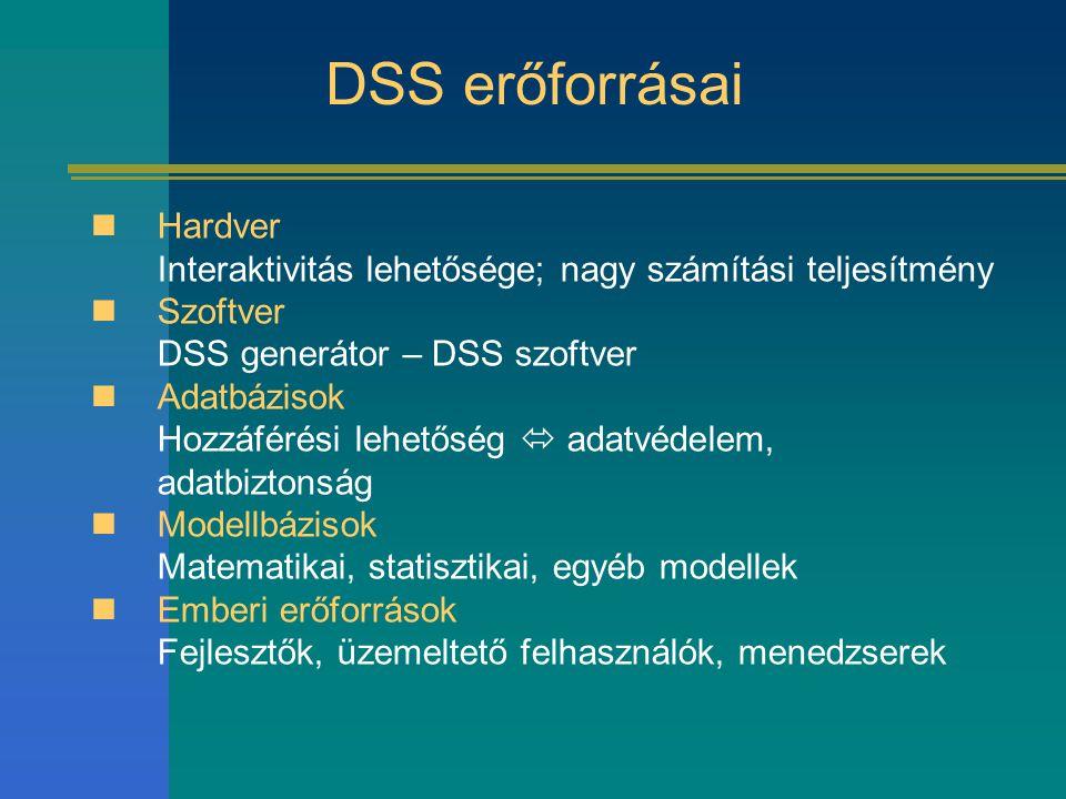 DSS erőforrásai Hardver Interaktivitás lehetősége; nagy számítási teljesítmény. Szoftver DSS generátor – DSS szoftver.